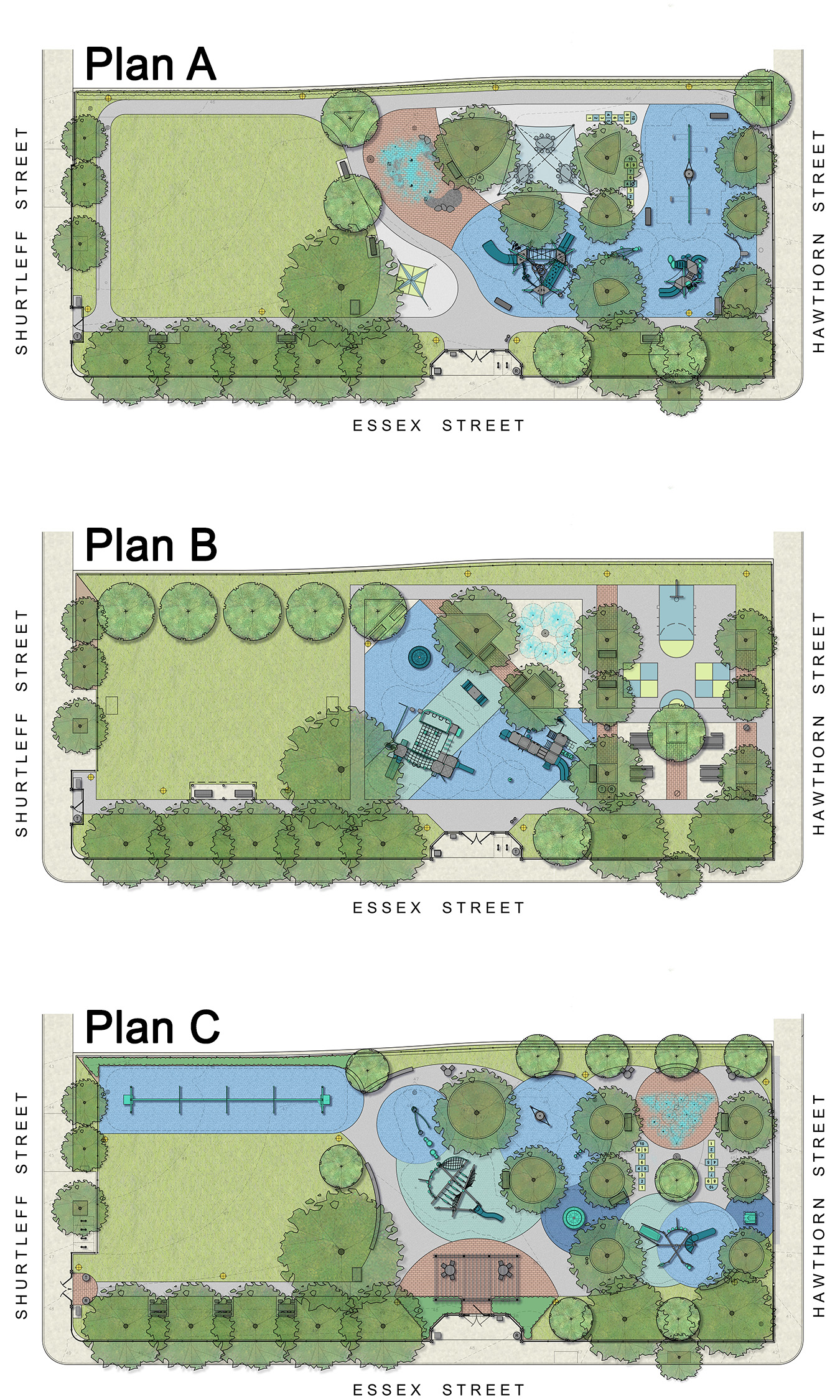 Three schematic design options for Quigley Park
