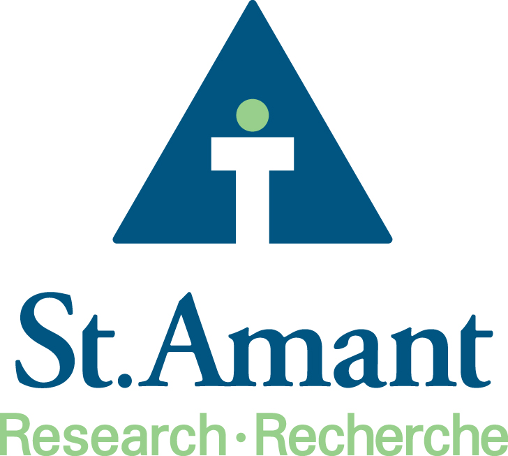 St.Amant Research Logo. A triangle with a person d