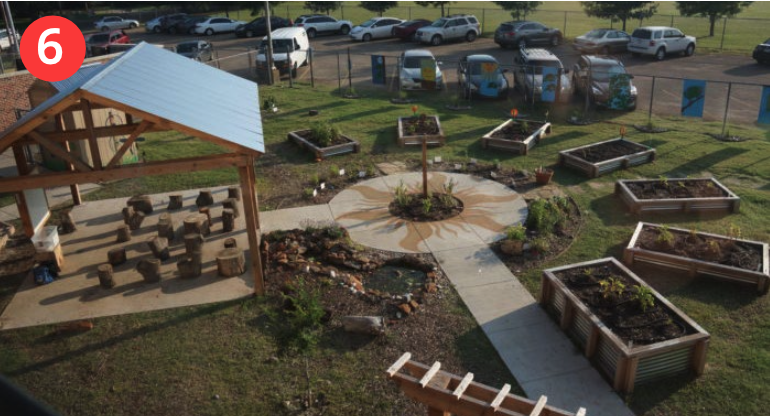 6 Covered classroom area with circular planting beds