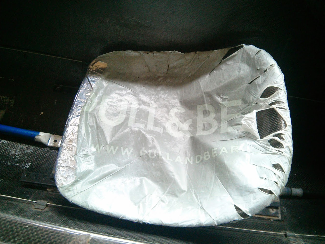 Plastic bag over the seat