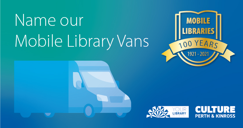 logo that reads name our mobile library vans. mobi
