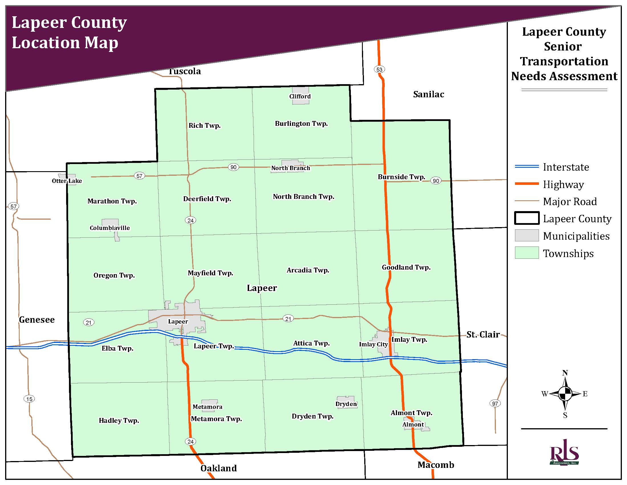 Location Map showing Lapeer County, Cities, and Townships within the county