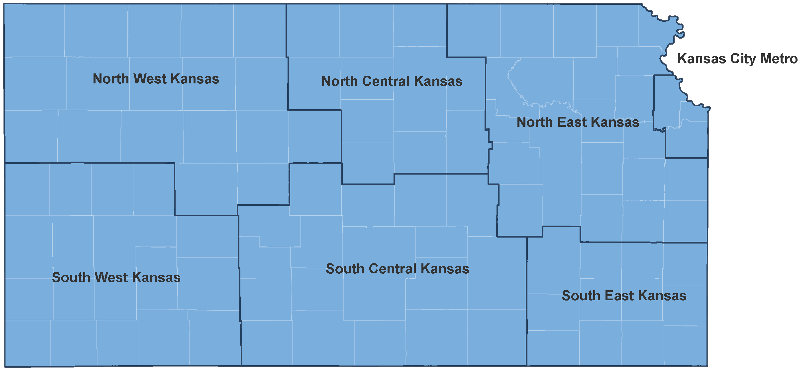 Map of Kansas by Region