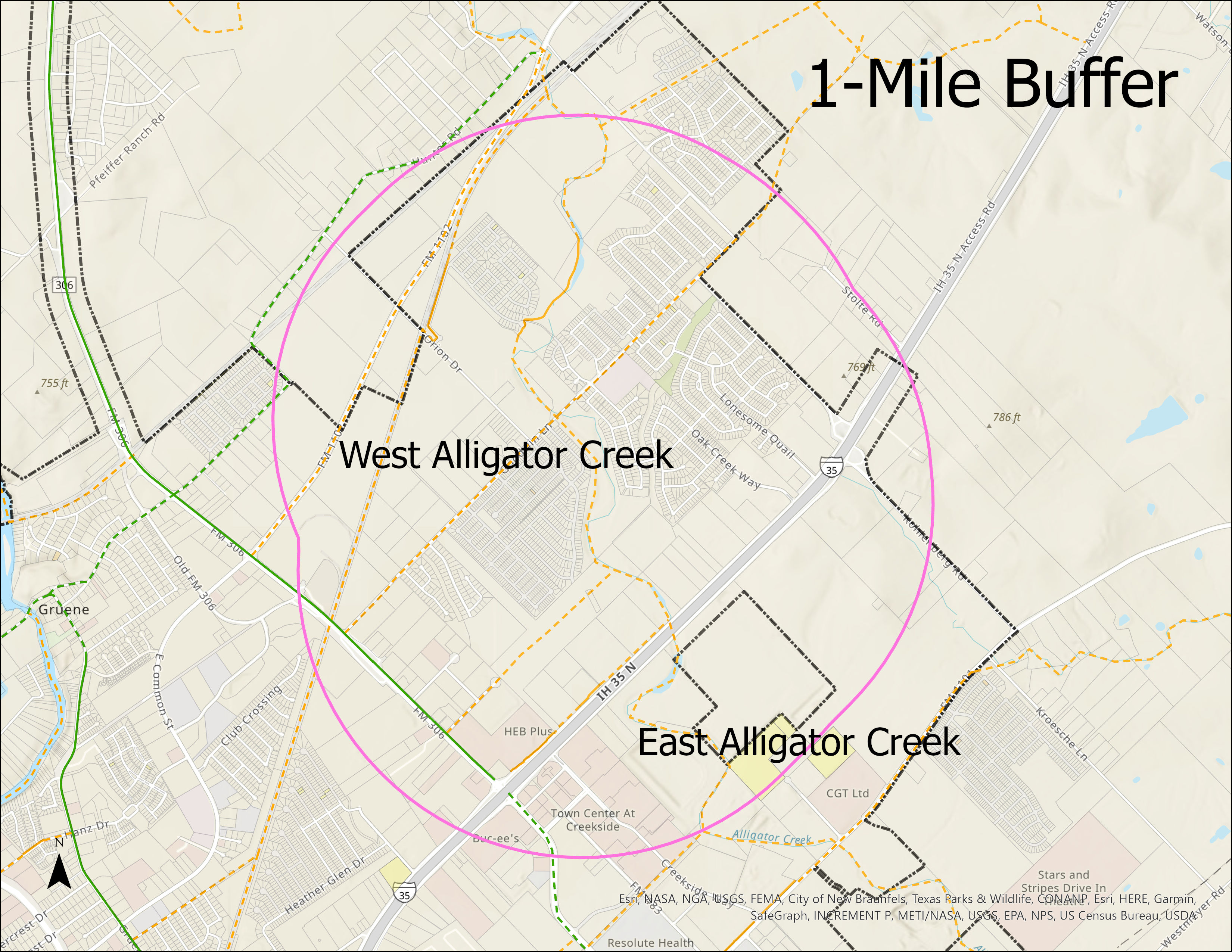 Approximate 1-mile buffer from Alligator Creek