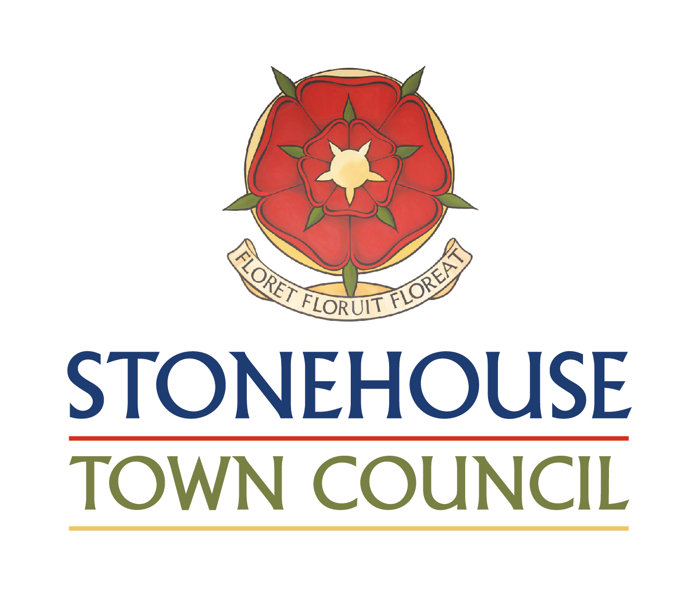 Stonehouse Town Council logo - name , rose and mot