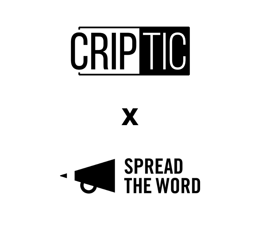 Two black and white logos of CRIPTIC and Spread th