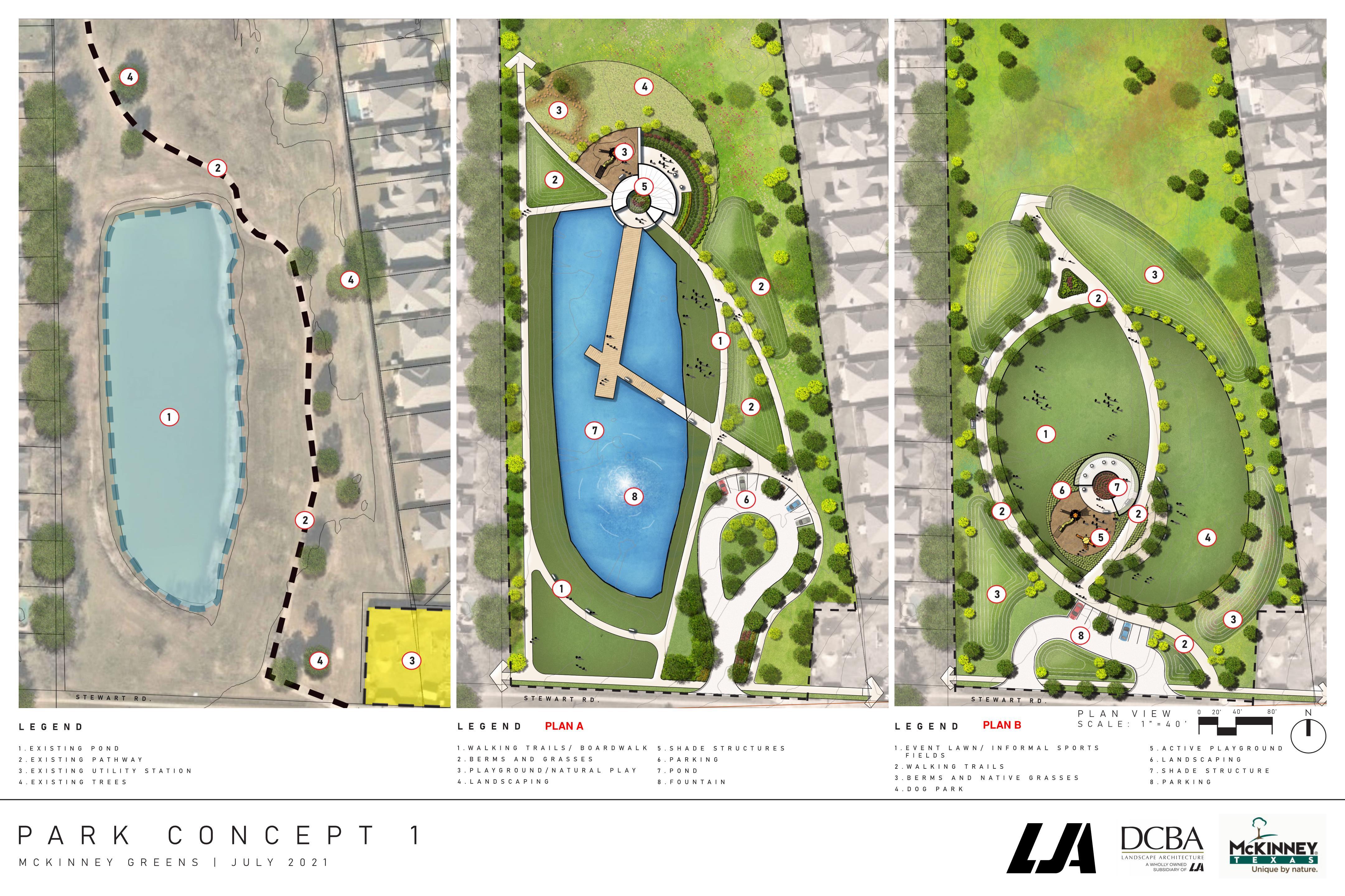 McKinney Greens Neighborhood Park Concept Plans A & B