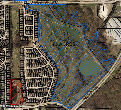 The red outlined area is the 4.7-acre parkland. The blue outlined area is the previously known McKinney Greens Golf Course.