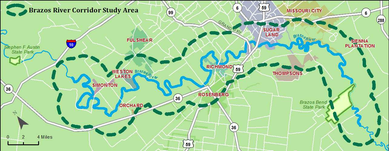 This map shows the corridor along the Brazos River that is part of the planning effort.