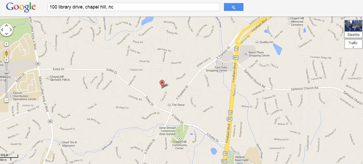 The Chapel Hill Public Library is located at 100 Library Drive, Chapel Hill, NC 27514.