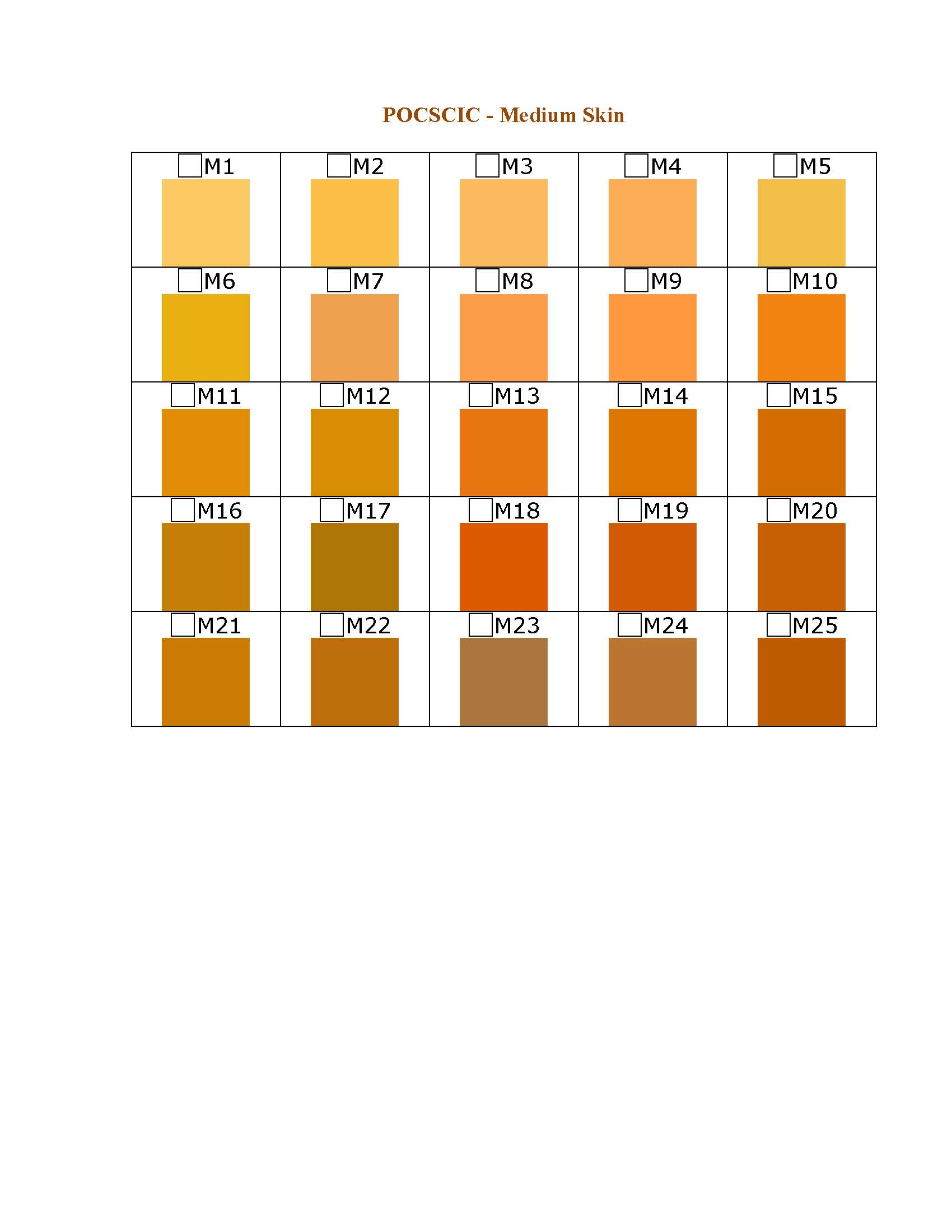 Medium Skin Color.<br><br>Using the Medium POCSCIC below, identify the color that represents your skin color and enter the code (I.E. M4) in Question No. 10.  (Colors will vary depending on the screen resolution/monitor)