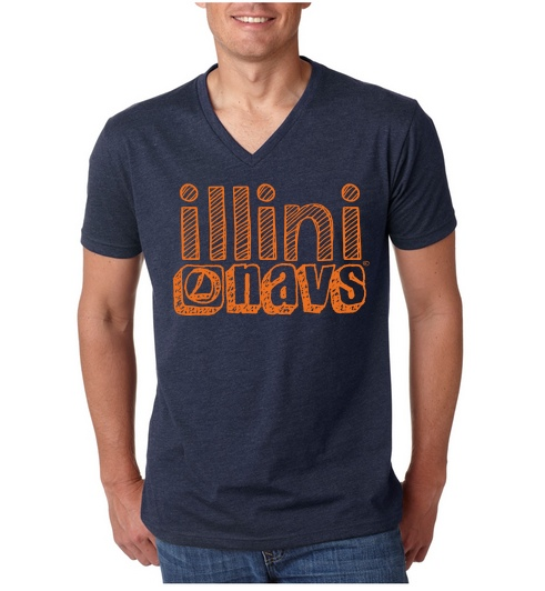 This Next Level brand v-neck t-shirt is navy blue with pale orange lettering. It is 60% cotton, 40% polyester, and should cost somewhere between $8-12 depending on how many shirts are ordered. Next Level t-shirts are fitted and may run small - so you might want to order a size up.