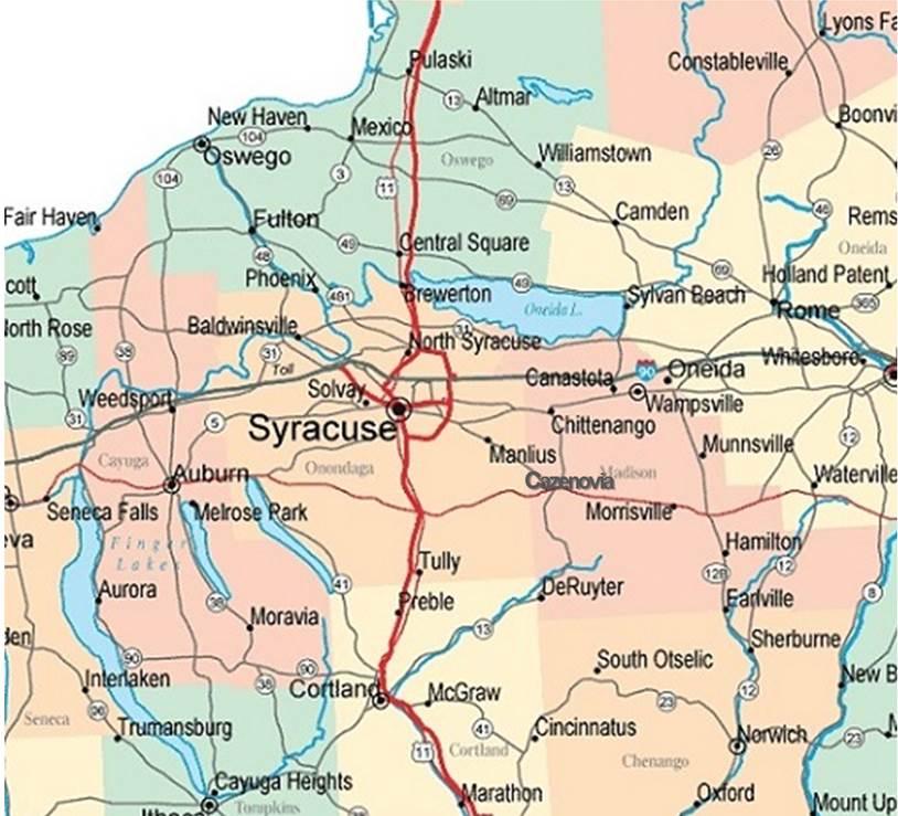 Map Of New York Oswego.Central Ny Cayuga Cortland Madison Onondaga Or Oswego County