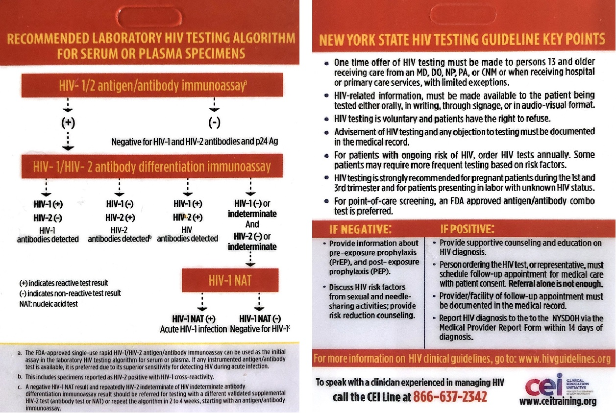 *Photo shown is front and back of one HIV Testing card