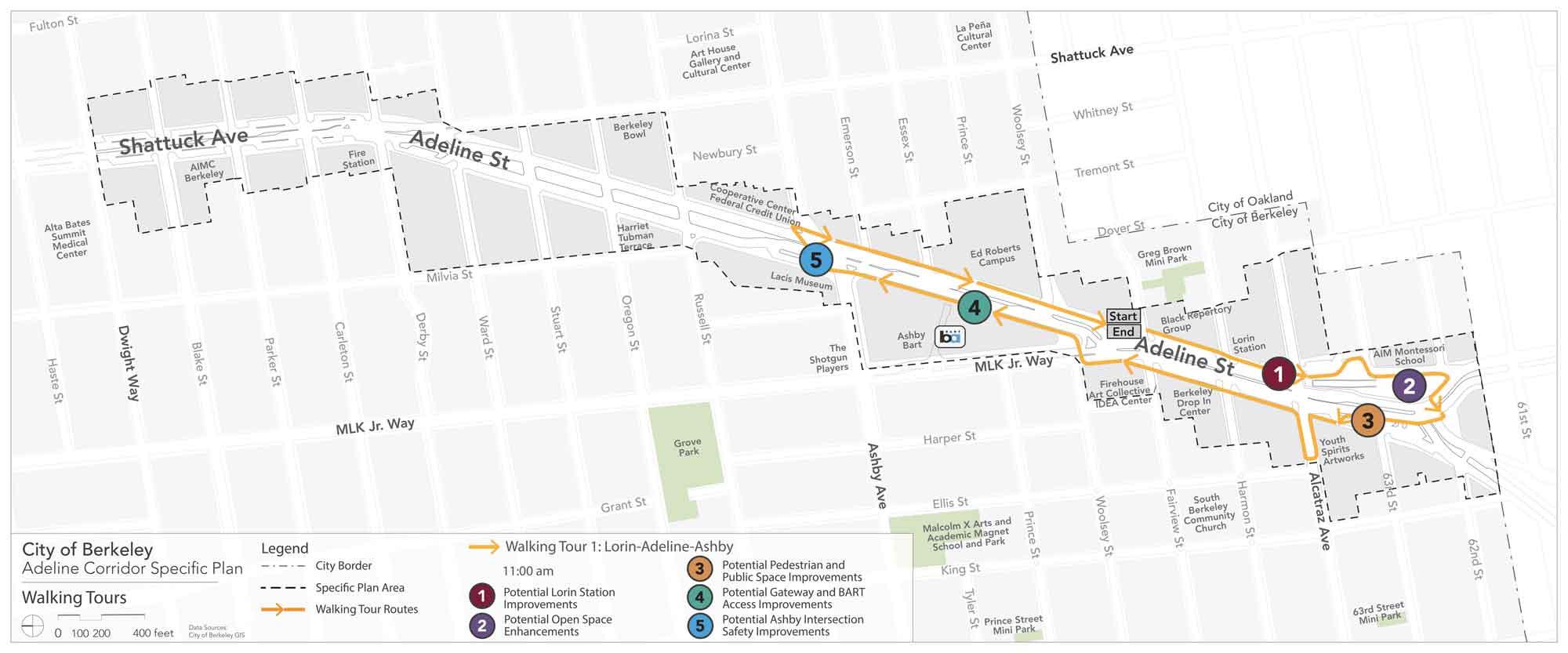Adeline Corridor Plan - walking tour route 1 Survey