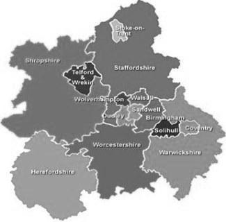 West Midlands map