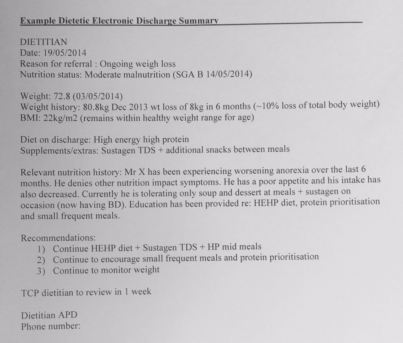 Example Of A Dietetic Electronic Discharge Summary (eDS)