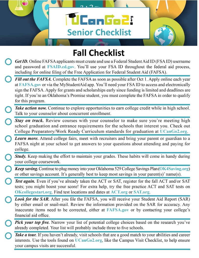 "Senior Checklist <span style=""color: #ff0000;"">NOT AVAILABLE AT THIS TIME</span>"