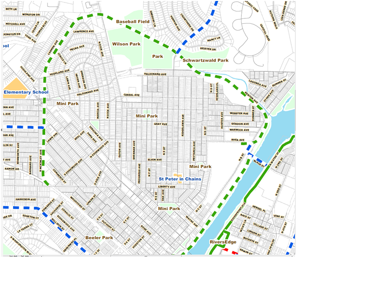 Beltline Trail Purposed in Green Dotted Line