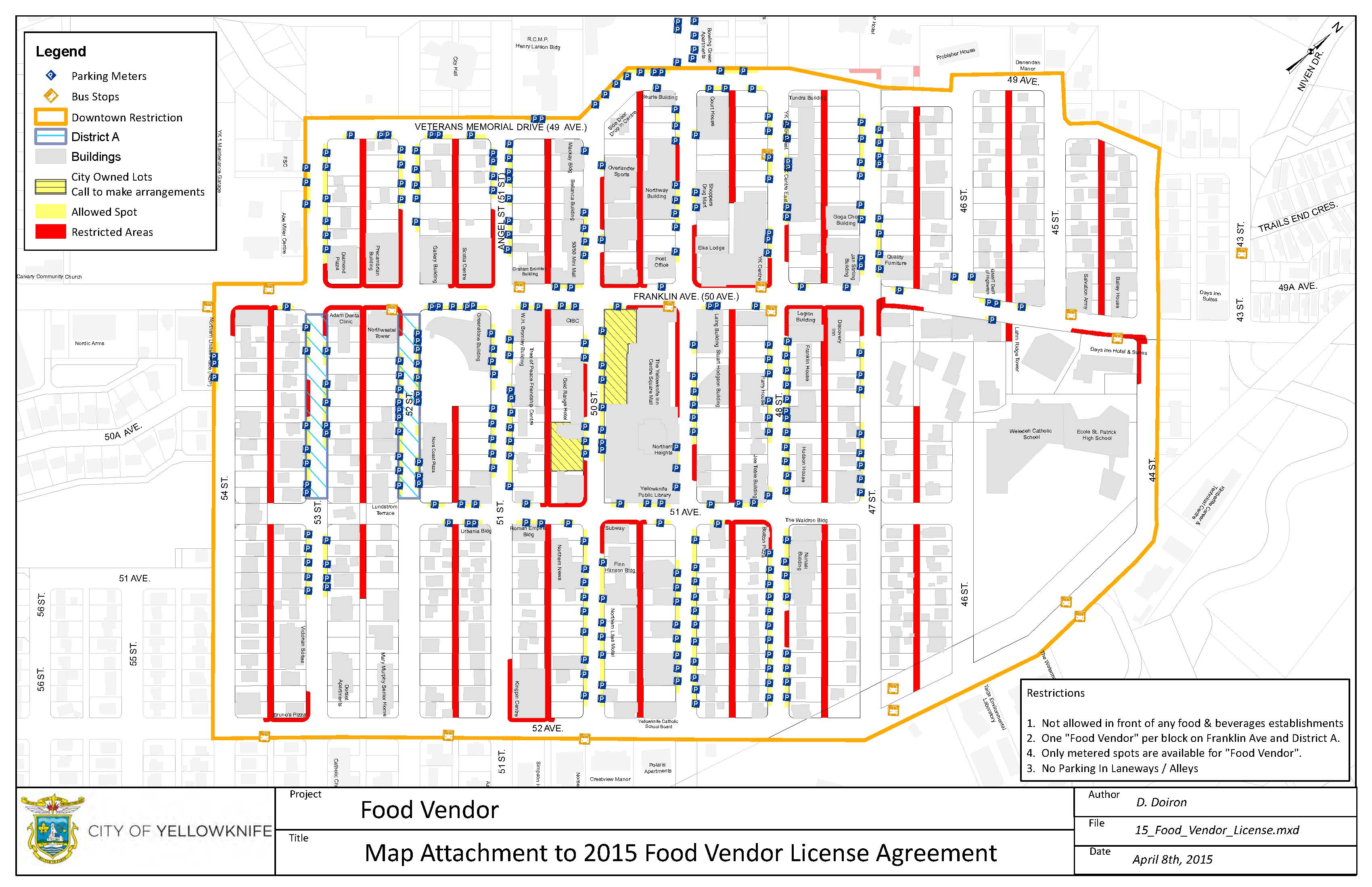 Food truck parking map