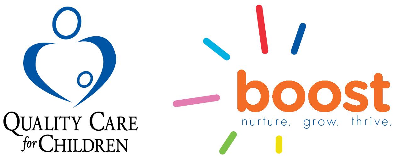 Quality Care for Children logo. Boost logo: nurture. grow. thrive.