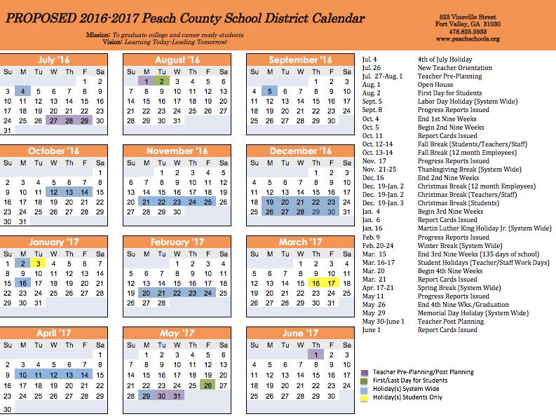 fy17 calendar survey