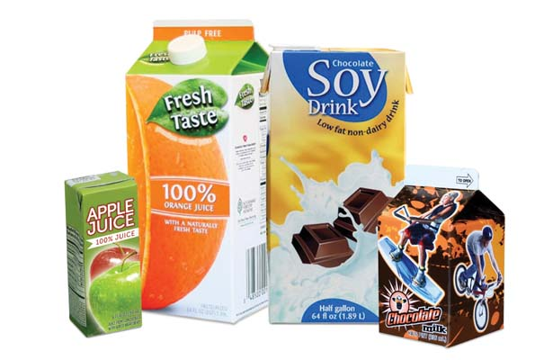Paper Cartons such as Milk and Orange Juice containers.