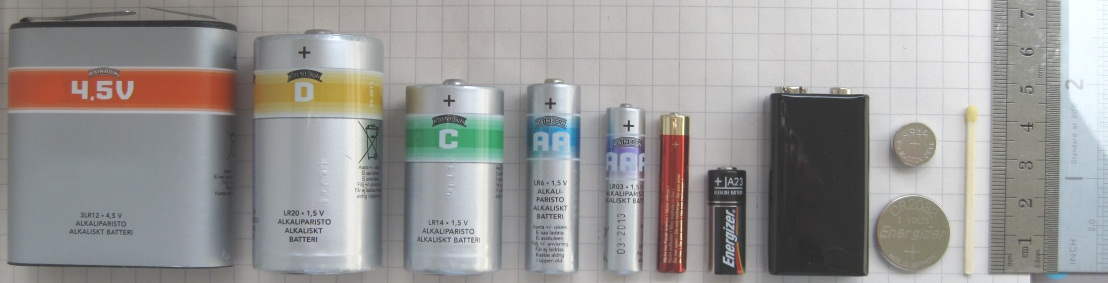"OTHER TYPES OF HOUSEHOLD BATTERIES<br>Including rechargeable and single use, AAA, AA, C, D, 6 volt, 9 volt batteries<br><br><span style=""font-size: 8pt;"">By Lead holder - Own work, CC BY-SA 3.0, https://commons.wikimedia.org/w/index.php?curid=15389714</span>"