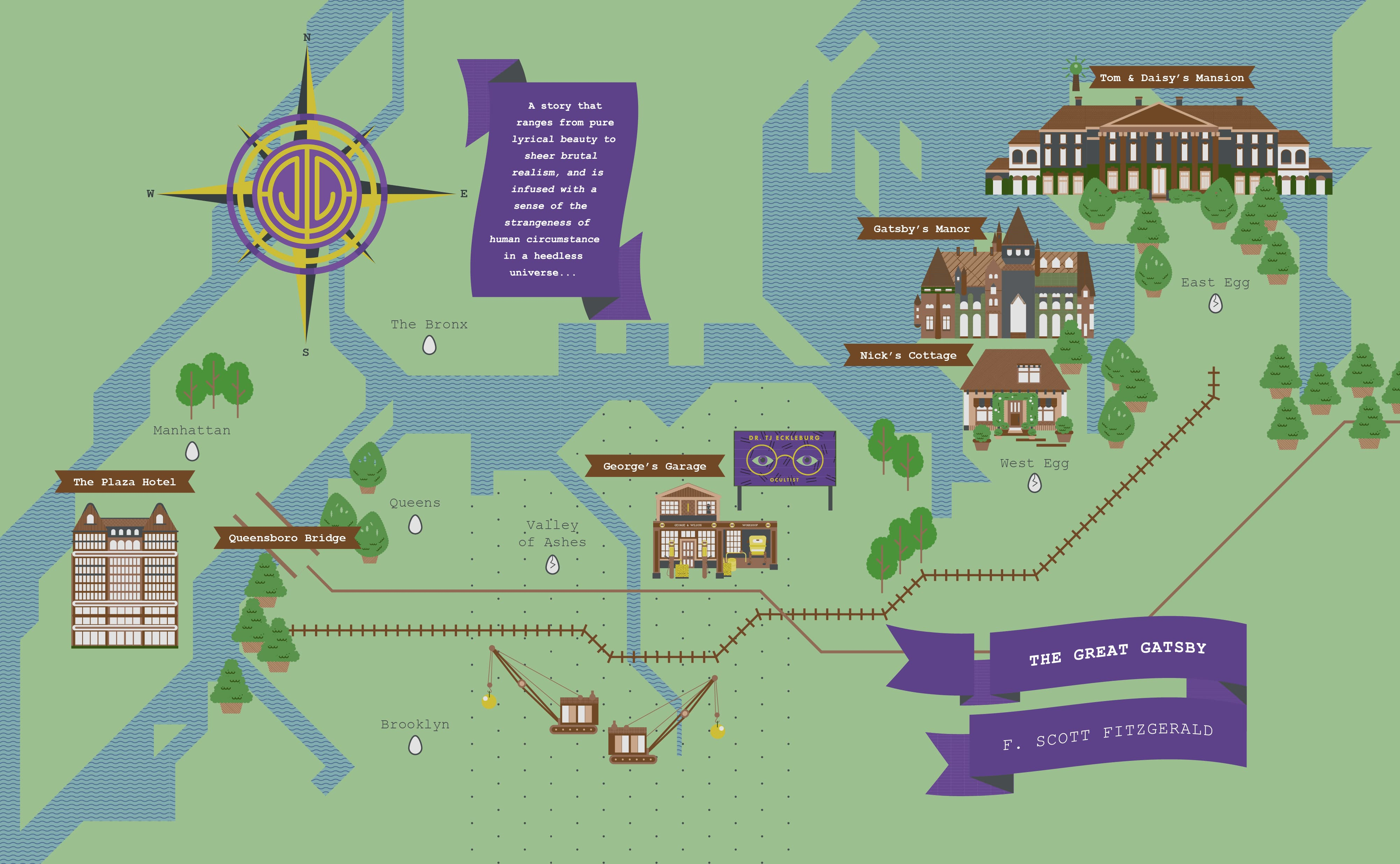 The Great Gatsby Map The Great Gatsby Map Design Survey