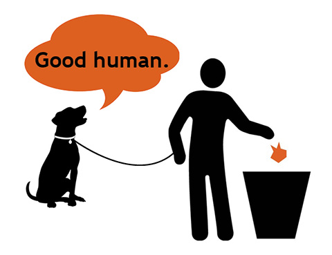 "stick figure human throwing bag of poop into trash, dog on leash with talk bubble that says, ""Good human."""