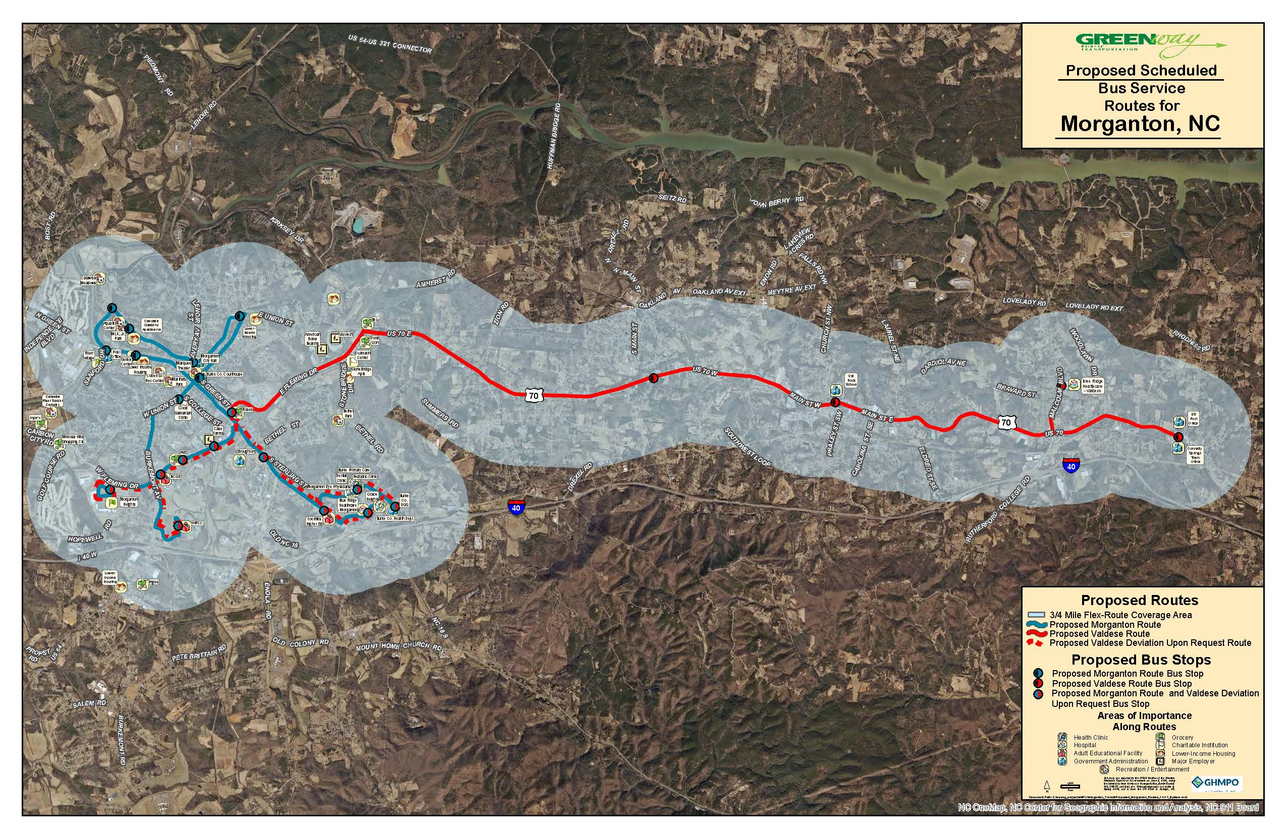 Proposed Route - Morganton & Valdese Routes (Complete System)