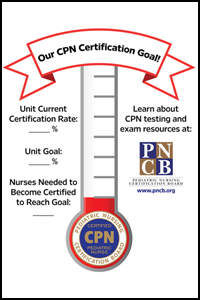 "<strong>Thermometer-Style Goal Poster: Certified Pediatric Nurse (CPN) Exam</strong><br><br> 11"" x 17"" poster"