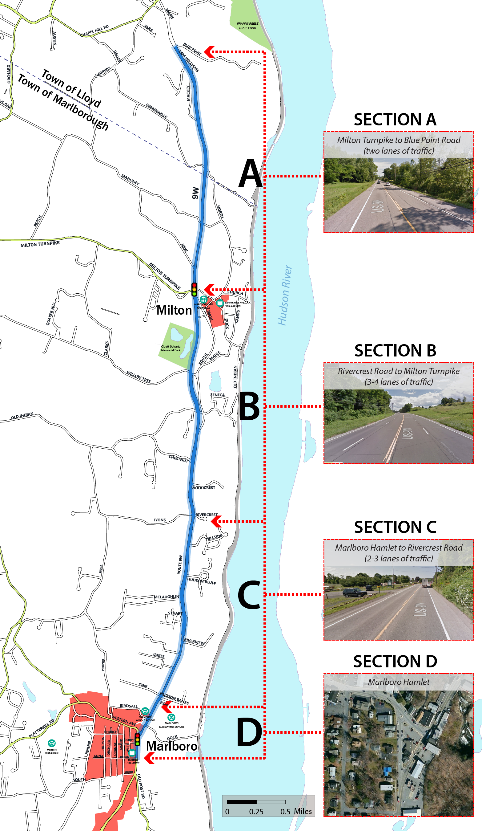 Route 9W Study Area: Hamlet of Marlboro to Bluepoint Road in the Town of Lloyd